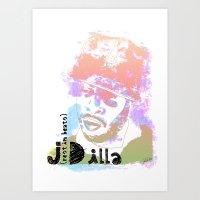 j dilla Art Prints featuring Rest In Beats Dilla by JLillustration