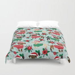 Dachshund christmas sweater florals poinsettia holiday red and white santa hat for dog lover Duvet Cover