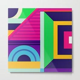 Modern Vibrant Geometric Pattern #5 Rectangles Arcs and Stripes Metal Print