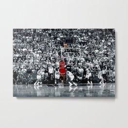 Michael Jor-dan Title winning last shot in Chicago Poster Size 24 x 36 inches Metal Print