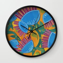 Blue Beanstalks Wall Clock