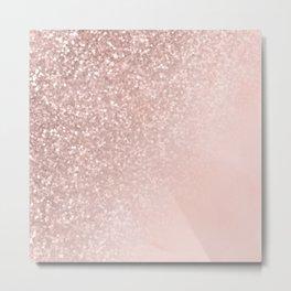 Rose Gold Sparkles on Pretty Blush Pink II Metal Print