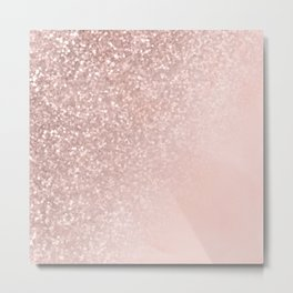 Rose Gold Sparkles on Pretty Blush Pink II Metal Print