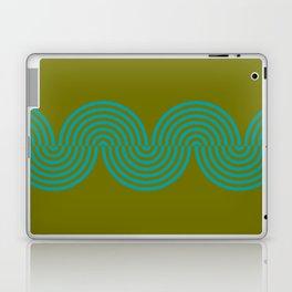 groovy minimalist pattern aqua waves on olive Laptop & iPad Skin