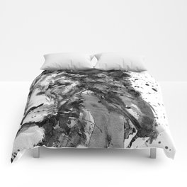 Black And White Half Faced Lion Comforters