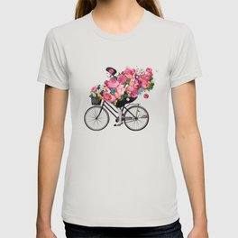 floral bicycle T-shirt