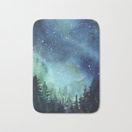 Galaxy Watercolor Aurora Borealis Painting Bath Mat