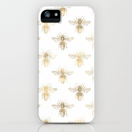 Chic Gold and White Bee Patten iPhone Case