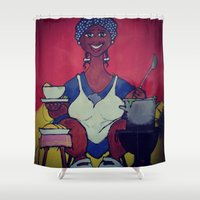 cooking Shower Curtains featuring The cooking lady by Ivo Becker