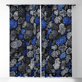 (N13) Blue Indigo Traditional Authentic Moroccan Hands Artwork. Blackout Curtain