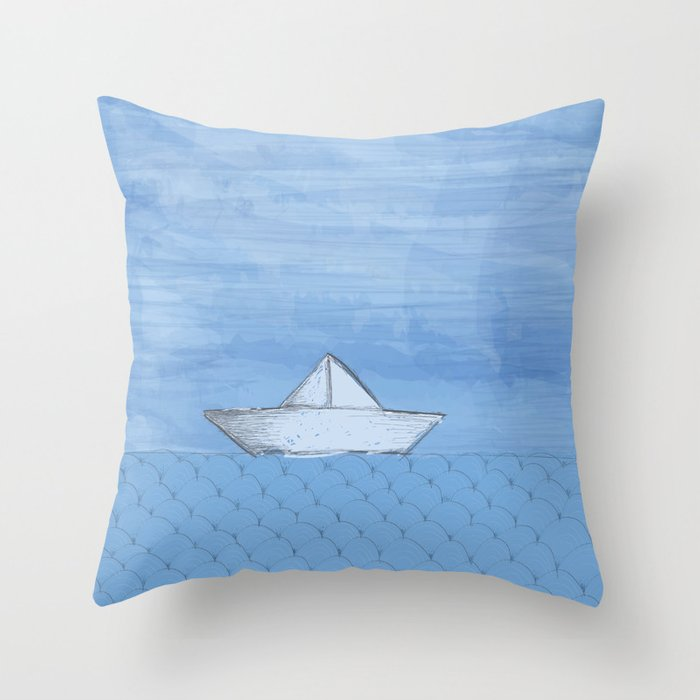 Barco de papel Throw Pillow