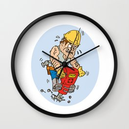 Construction Worker Jackhammer Drilling Cartoon Wall Clock