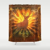stag Shower Curtains featuring Stag  by Beery Method