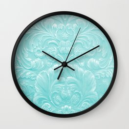 Robin Egg Blue Tooled Leather Wall Clock