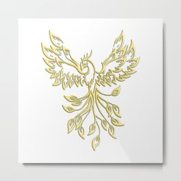 Golden Phoenix Rising Metal Print
