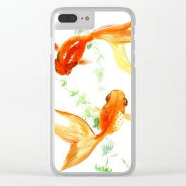 Goldfish, Feng Shui Asian Watercolor Clear iPhone Case