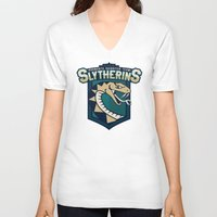 quidditch V-neck T-shirts featuring Hogwarts Quidditch Teams - Slytherin by Deadround