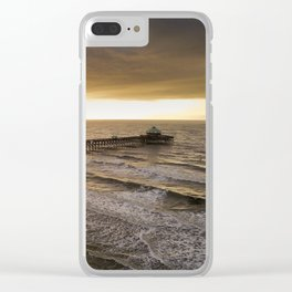 Folly Beach Pier in Gold Clear iPhone Case