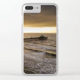 Folly Beach Pier in Gold Clear iPhone Case