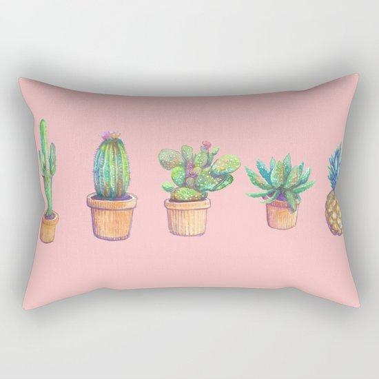 evolution cactus to pineapple pink version Rectangular Pillow