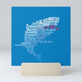 Shark in Different Languages Mini Art Print