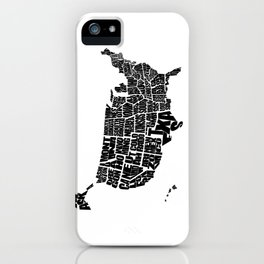 USA Word Map - Black and White iPhone Case