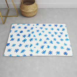 Watercolor snowflakes - blue Rug