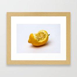 Keep smiling. Half eaten lemon Framed Art Print