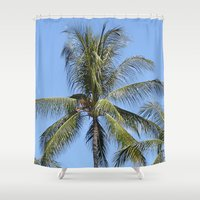 indonesia Shower Curtains featuring Palm (Bali, Indonesia) by Christian Haberäcker - acryl abstract
