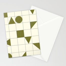 geo shapes-olive Stationery Cards