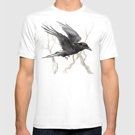Flying Raven Art, raven crow tribal design T-shirt