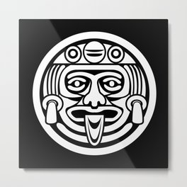 Mayan Face (White) Metal Print