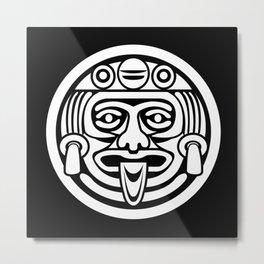 Mayan Face (White) Metal Print