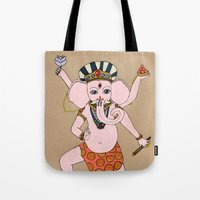 ganesha Tote Bags featuring Ganesha by Erika Rier