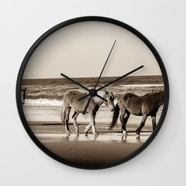 Horses of OBX Wall Clock