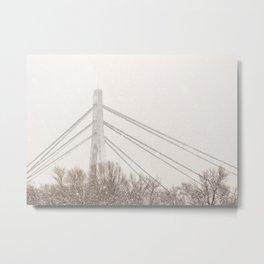 Moskovskyi Bridge in Winter Metal Print