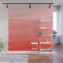 Diagonal Living Coral Gradient Wall Mural