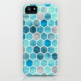 Blue Ink - watercolor hexagon pattern iPhone Case