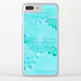 Aqua Blue Floral Flower pattern- Turquoise Abstract Flowers on #Society6 Clear iPhone Case
