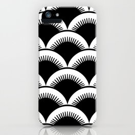 Japanese Fan Pattern Black and White iPhone Case