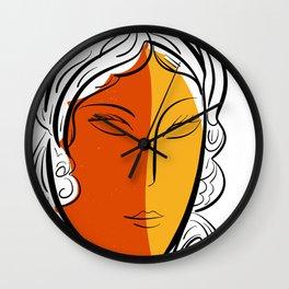 Minimal Pop Portrait in Orange and Yellow Illustration Wall Clock