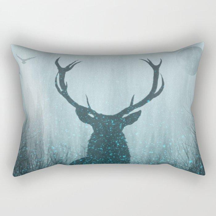 Snow Stag Silhouette Rectangular Pillow