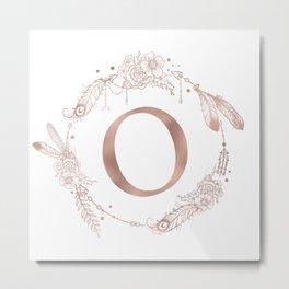 Letter O Rose Gold Pink Initial Monogram Metal Print