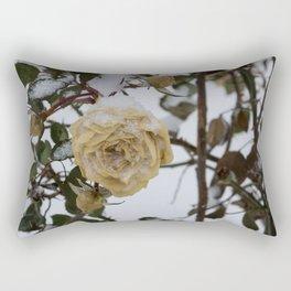 Snow covered white rose Rectangular Pillow