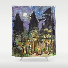 Campfire Under a Full Moon Shower Curtain