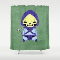 conan Shower Curtains featuring A Boy - Skeletor by Christophe Chiozzi