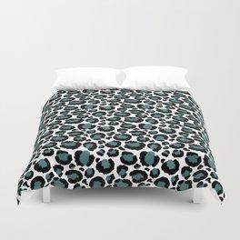 Teal Leopard Animal Print Pattern Duvet Cover