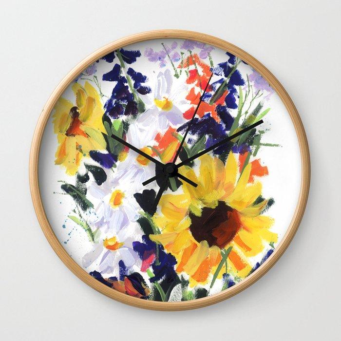 Sunflower Bouquet Wall Clock