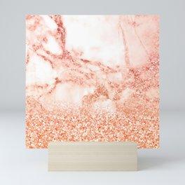 Sparkly Peach Copper Rose Gold Ombre Bohemian Marble Mini Art Print