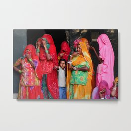 Indian women and child Metal Print